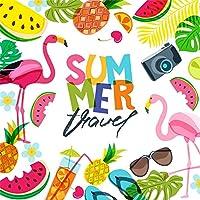 GooEoo 7×7フィート夏旅行ビニール写真の背景漫画かわいいフラミンゴ熱帯の葉夏の果物カメラ飲料イラスト背景夏パーティー壁紙スタジオの小道具