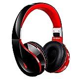 AUSDOM Bluetooth ヘッドホン Bluetooth4.0対応 ワイヤレス ヘッドホン 高音質 ハンズフリー通話 軽量 折り畳み式 (ブラック+レッド)