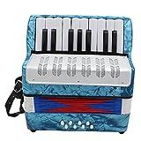 ammoon 初心者/子供用 アコーディオン 手風琴 8ベース 17鍵 小さい 知育玩具 楽器 キッズアコーディオン (ブルー)