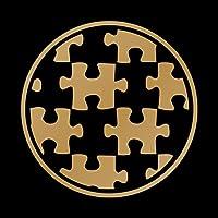 パズル 給油口 カッティング ステッカー 丸型 ゴールド 金 Lサイズ 14cm