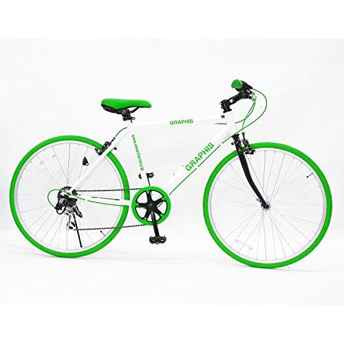GRAPHIS(グラフィス) クロスバイク 26インチ 6段変速 可動式ステム クイックレリーズ ホワイト/グリーン GR-001