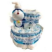 おむつケーキ パンパースMサイズ使用 出産祝い男の子用オムツケーキ ドラえもんシャンプーボトル付き
