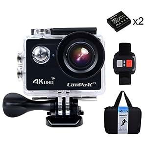 Campark®ACT73R 4K アクションカメラ 2.0インチ液晶、170°広角度の防水スポーツカメラ WIFIとリモコンを付き、ヘルメット/ダイビング/自転車/車などに取り付け可能(一年の保証を付き)