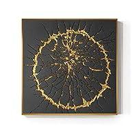 ファッションバーストサークルキャンバス絵画黒と金ポスター印刷豪華な壁アート写真用リビングルームダイニングルーム大サイズ-60×60センチ-なしフレーム