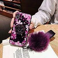 iPhone XR/iPhone Xrケース用スタンド、セブンパンダ贅沢チェリー花玉柔らかいゴムバンパーキラキラダイヤモンドスタンドホルダー付きグリッター/女性用リストストラップ(ピンク、iPhone XR 6.1インチ用)
