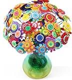 手作り ボタン フラワー 造花 50本 観葉 植物 DIY 花瓶 付き 子供 向け 保育園 幼稚園 小学生 ギフト 誕生日 入園式 卒園式 入学式