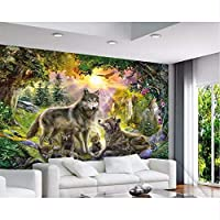 Wuyyii 壁紙カスタム写真3D超高精細太陽に照らされた緑の森グレー野生のオオカミ野生犬動物油絵-150X120Cm