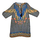 SODIAL(R)女性のシフォンシャツ 小柄プリントのカジュアルブラウス ワンピース 青 S