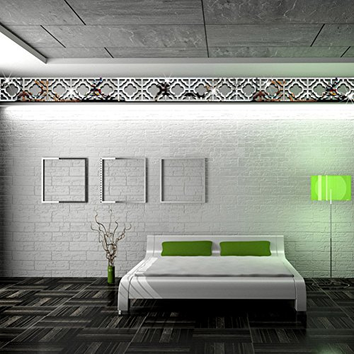 Sanwooden Decorate Your Life 10Pcs Mirror Wall Art Sticker Acrylic Living Room Bedroom Home Decor Decal - Silver