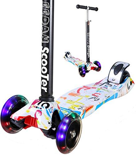 EEDAN 子供向け スクーター 3輪 T バー 調節可能な高さ ハンドル キック スクーター デラックス付き Pu 点...