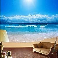 Xbwy カスタム3D壁の壁画写真の壁紙風景東南アジア海辺の風景青い空と白い雲リビングソファテレビバククロップ-400X280Cm