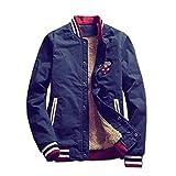 Spinas(スピナス)  着るだけで大人っぽくなる ブルゾン ジャケット アウター 長袖 メンズ ワッペン サファリ ボアジャケット 裏起毛 大きいサイズ 全2色(カーキ ネイビー) (M, ネイビー )