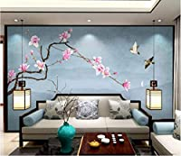 Minyose カスタム3Dの壁紙中国風の手描きのピンクのマグノリアのソファーTvの背景の壁の壁画の壁紙-350Cmx245Cm
