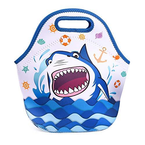 KUNGYOサメランチバッグ-ネオプレン子供用ランチバッグトートバッグスクールピクニック釣りビーチ再利用可能な防水ランチハンドバッグ最高の贈り物