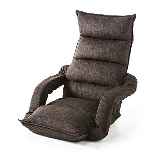 サンワダイレクト 座椅子 ひじ掛け付き ハイバック 肘掛け連動 42段階リクライニング ブラウン 150-SNCF010BR