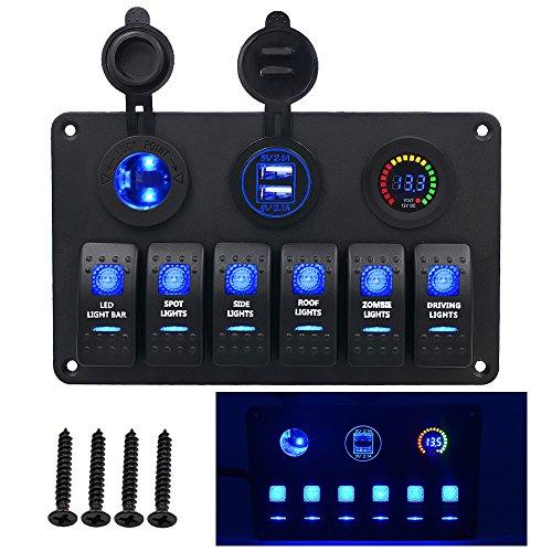 BlueFire アップグレード版 ! DC 12V/24V マリン ボート キャラバン LED回路 防水スイッチパネル 5pin On/Offスイッチ LED電圧計付 デュアル USBパワー チャージャー シガーソケット搭載