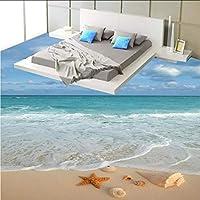 Wxmca 現代のシンプルな3Dステレオビーチ海の波ヒトデ巻き貝の床タイル壁画壁紙浴室の寝室のPvc防水3 Dのフロアーリング-150X120Cm