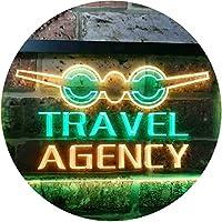 Travel Agency Dual Color LED看板 ネオンプレート サイン 標識 緑色 + 黄色 600 x 400mm st6s64-i0048-gy