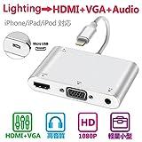 iPhone iPad用 Lightning to HDMI + VGA + オーディオ3in 1 映像 変換アダプタ 高画質 大画面 簡単接続 充電使用 充電ケーブル付き