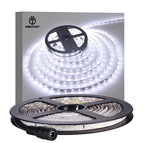 WenTop LEDテープライト 両面テープ SMD 3528防水 DC 12v 5M 300leds 60leds/m ホワイトフレキシブルテープライティングテープライト、家、バー、レスト...
