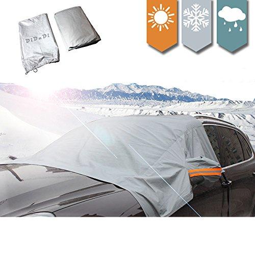 車用 フロントガラス 凍結 防止 シート フロントガラス カバー 積雪対策 冬 雪対策 収納袋付 日よけ 簡単設置 SUV対応可能 結露 除雪 サイドミラーもしっかりカバー グレー DiDaDi