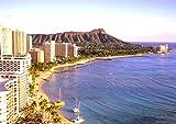 絵画風 壁紙ポスター (はがせるシール式) ハワイ ワイキキ ビーチ ダイヤモンドヘッド 海 キャラクロ HWI-001A2 (A2版 594mm×420mm) 建築用壁紙+耐候性塗料