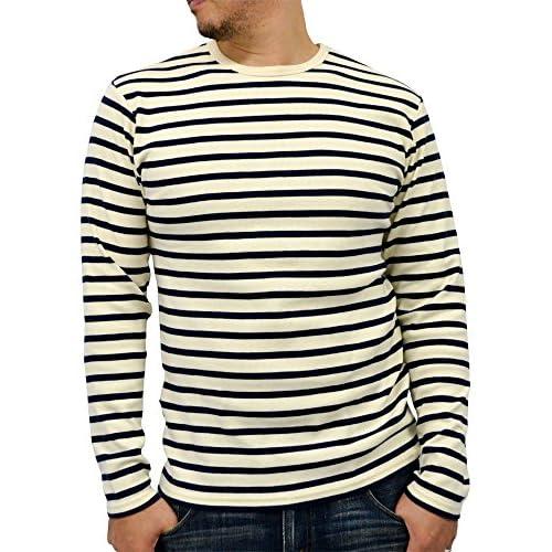 (アヴィレックス) AVIREX ストレッチ クルーネック 長袖 ボーダー Tシャツ メンズ 6色 LL オフホワイト