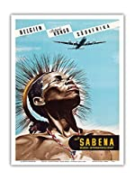 ベルギー - ベルギーのコンゴ - 南アフリカ - Sabena (ベルギー世界航空) - ビンテージな航空会社のポスター によって作成された マルセル・クロス c.1950 - アートポスター - 23cm x 31cm