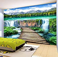 Mzznz 滝風景ウッドブリッジ写真壁画壁紙リビングルームテレビソファ背景壁カバーホームデコレーション壁画-350X250Cm