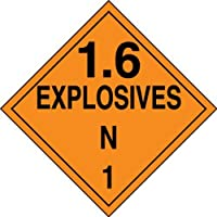 Accuform Signs MPL135VS25 Adhesive Vinyl Hazard Class 1/Division 6N DOT Placard Legend 1.6 EXPLOSIVES N 1 10-3/4 Width x 10-3/4 Length Black on Orange (Pack of 25) [並行輸入品]