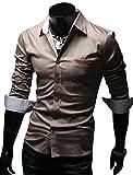 ( UN ANANAS ) NDO271S シンプル ポッケ 7分 チェック ボタン 綿 ワイシャツ 通勤 男性 メンズ シャツ 会社 (ブラウンM)