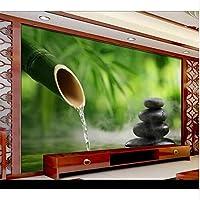 Ansyny 新鮮な竹林水石ヨガスパサロン壁紙3d壁壁画ロールスホテルリビングルーム寝室の壁アートの装飾壁紙-300X200CM