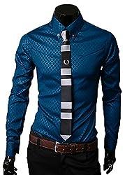 【Smile LaLa】 メンズ シャツ ワイシャツ カッターシャツ ドレスシャツ シンプル 長袖 男性 格子 柄 ビジネス オールシーズン (M, ブルー)