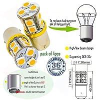 Wiseshine led オート 電球 bax15d 電球 S25 13smd 5050 DC9-30v 3年間の品質保証(4パック) 高/低輝度 bax15d 13smd 5050 緑