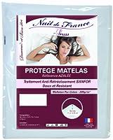 Nuit de France 329383マットレスプロテクターコットンホワイト、ホワイト、180 x 200 cm