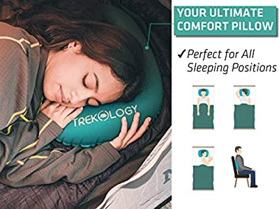 Trekology Ultralight Inflating Travel/Camping Pillows - Compressible, Compact, Inflatable, Comfortable, Ergonomic Pillow for Neck & Lumbar Support and a Good Night Sleep While Camp, Backpacking