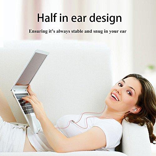 Langsdom  高音質イヤホン EarPods型 重低音 スマホ 密閉型 iphone/android多機種対応 マイク付き 外部ノイズ遮断 グレー&ゴールド&ピンクゴールド F9 (男性(グレー))
