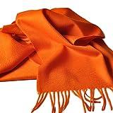 クラシック 無地 チェック柄 厚い ウール カシミヤ カシミア ビジネス メンズ レディース スカーフ マフラー オレンジ色
