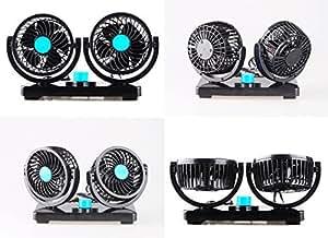 【 360°可動ファンで 車内エアコンの効率アップ 】 ダブル サーキュレーター 角度調節 風量調節 車載扇風機 ツインファン 12V 24V 車内 シガー (12V/ブルー)