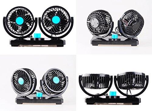 【 360°可動ファンで 車内エアコンの効率アップ 】 ダブル サーキュレーター 角度調節 風量調節...
