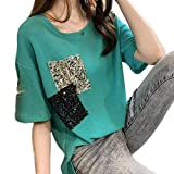 [ジョリサラ] ビッグ シルエット Tシャツ きれいめ カジュアル ラメ プリント カットソー M ~ XL レディース