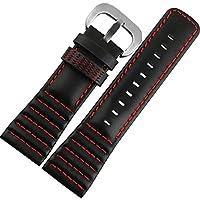 28mm 黒色 本革 腕時計ベルト 赤色ステッチ