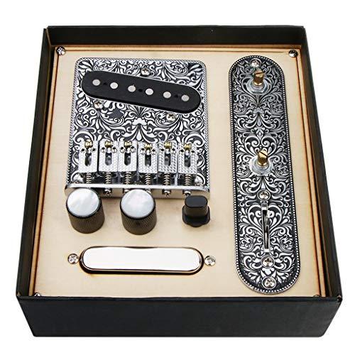 6弦サドルブリッジプレート、3ウェイスイッチコントロールプレート、3サドルブリッジ ピックアップギター用 交換パーツ(黒)