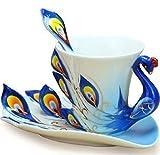 【morningplace】 孔雀 コーヒーカップ 3点セット 優雅 上品 お洒落 ティータイム プレゼント に (ブルー)