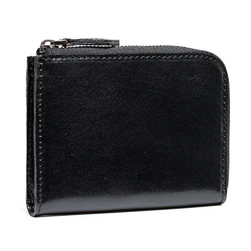 dc3dc6a58c5c POYOLEE 財布 メンズ L字ファスナー 本革 小型財布 磁気スキミング防止 コンパクト ブラック