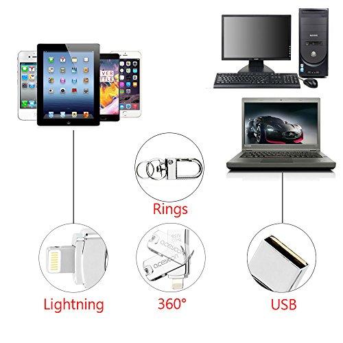 aceyoon iPhone用 外付け メモリ 64GB 容量拡張 USB Lightning メモリ + USB 接続 iPhone iPad PC 対応 フラッシュ ドライブ メモリー スティック