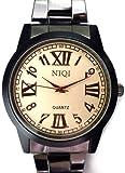 メンズ 腕時計 かっこいい デザイン ウォッチ ラウンドフェイス ベルト ブラック/黒 プレゼントにも ビジネス 白 ローマ数字 アンティーク レトロ 文字盤[tvs293-men]