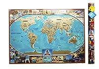 MyMap カラフル大型 スクラッチオフ世界地図 |35インチ x 25インチ 押しピン 旅行地図 旅の思い出をシェアできる| チューブとギフトカード、マーカー付き思いのこもったプレゼント。