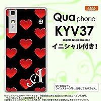 KYV37 スマホケース Qua phone ケース キュア フォン イニシャル ハート 黒×赤 nk-kyv37-117ini X