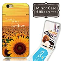 301-sanmaruichi- iPhone8Plus ケース iPhone7Plus ケース ミラーケース 鏡付き ミラー付き カード収納 おしゃれ ひまわり ヒマワリ 向日葵 花 B プリント ICカード iPhone6sPlus 6Plus ケース